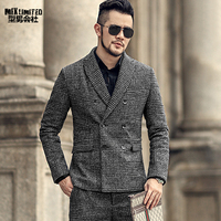 Men Autumn and Winter New Grey Pattern European Style Slim Casual Banquet Suit Men's Lattice Woolen Business Suit Blazer F311