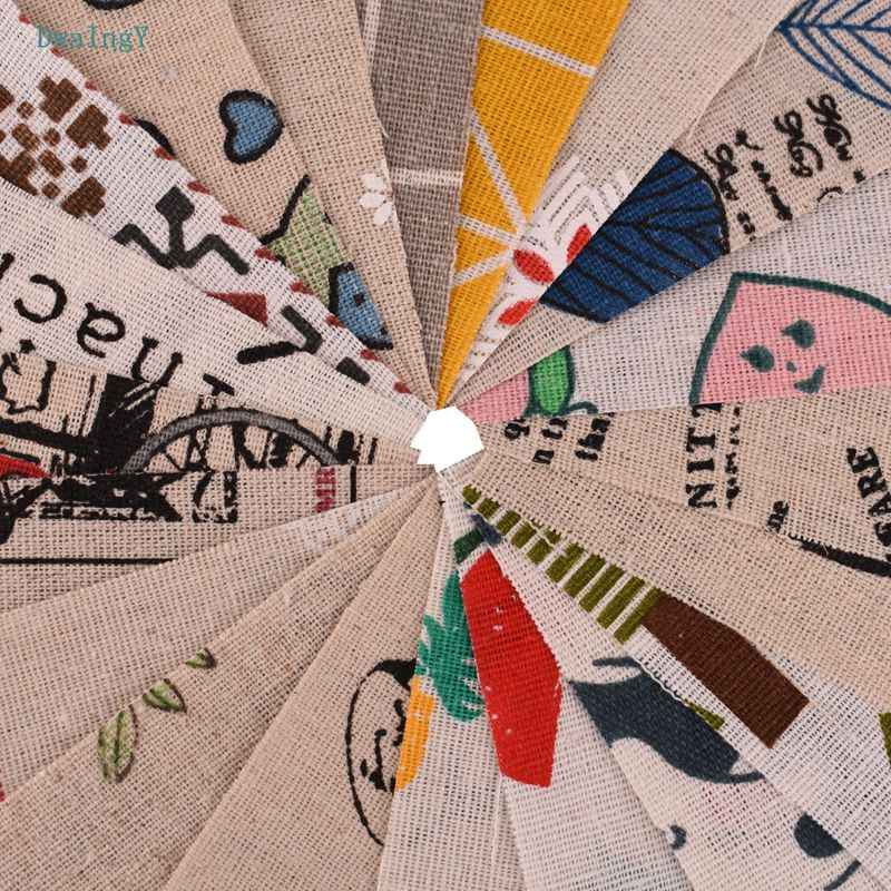 DwaIngY 20 pcs/lot couleur aléatoire imprimé coton lin tissu pour Patchwork bricolage & Quilting couture napperon sacs matériel 10 cm x 10 cm