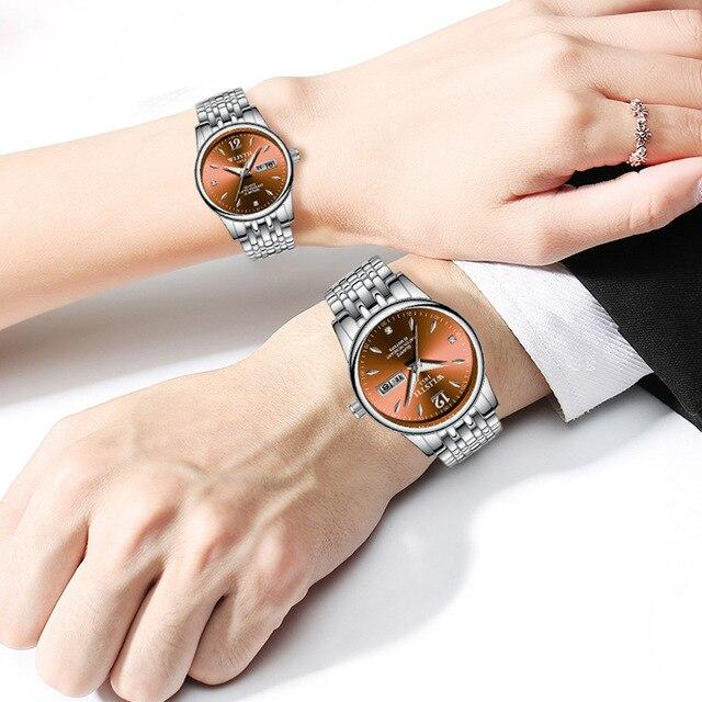 Couple Quartz Stainless Steel Strap Luminous Couples watch Set  4