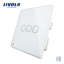 Livolo Wall Switch, White Crystal Glass Panel, AC 220-250V VL-C303S-61,3 Gangs 2Way,  Home Touch Screen Light  UK Switch