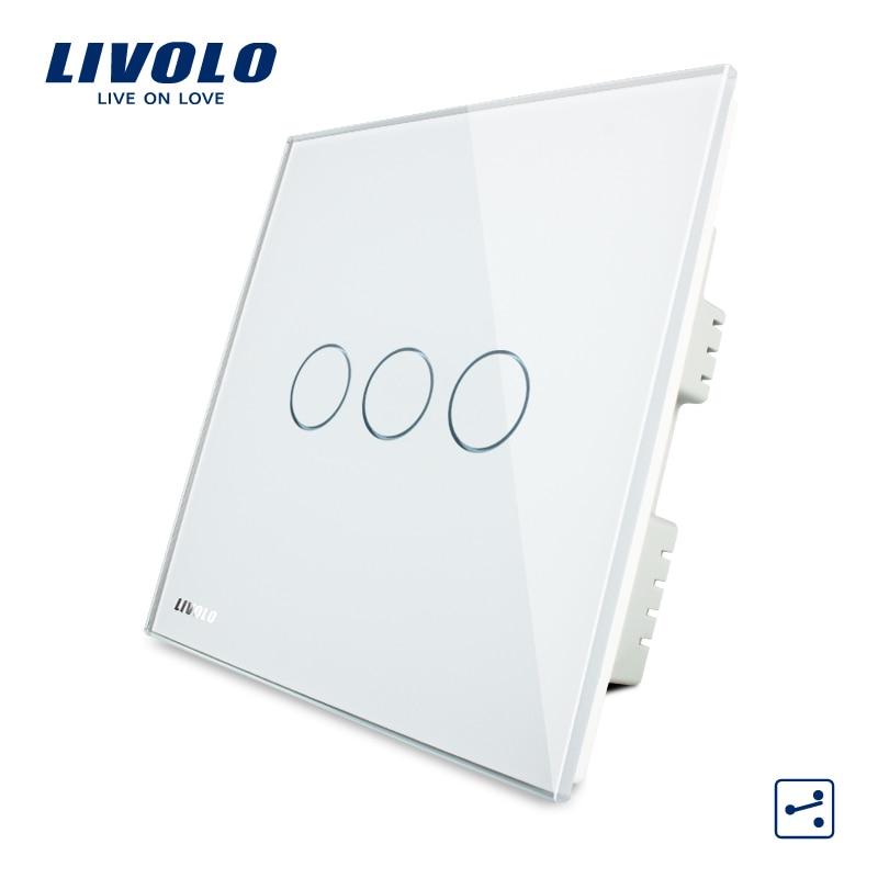 Livolo interruptor de pared de cristal de vidrio de Panel AC 220-250 V VL-C303S-White/Negro/Oro 3 pandillas 2Way a la luz de la pantalla táctil Reino Unido interruptor