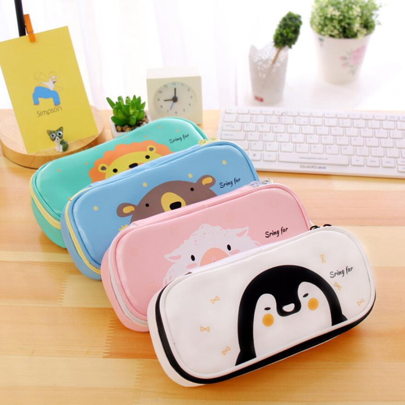 Big Leather Student Pencil Case School Pencil Case for Boy Girl Stationery Supplies Kawaii Animal Multifunction Pencil Bag Box new leather pencil case bag for school boys girls vintage pencil case box stationery products supplies as gift for student
