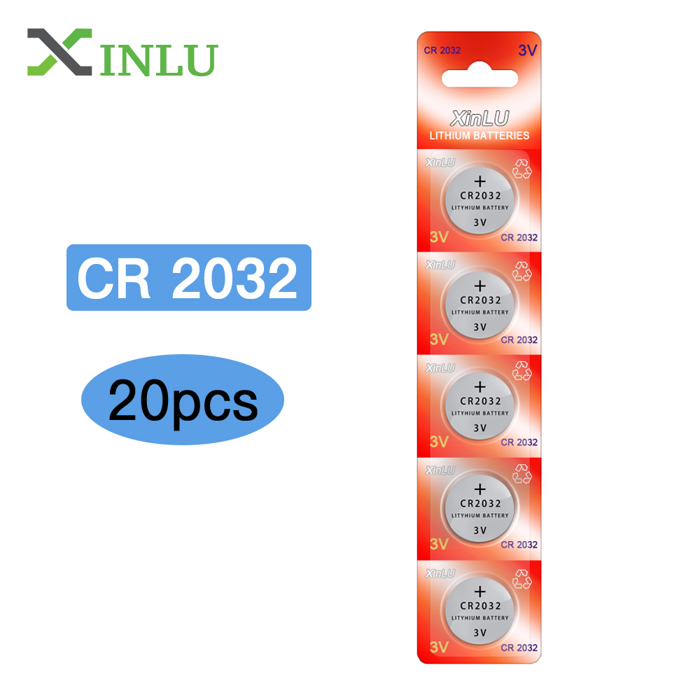 20PCS CR2032 Battery Alkaline DL2032 5004LC KCR2032 CR 2032 20 32 ECR2032 3V Lithium Button Cell coin battery for watch Battery