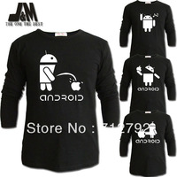 Luminous Long Sleeve T Shir Casual Shirts Cute Android Spoof Geek Robot T Shirt S 6xl