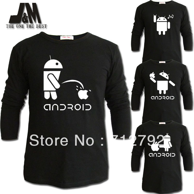 luminous long sleeve t shir casual shirts cute android spoof font b geek b font robot