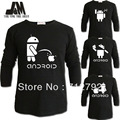 luminous long sleeve t shir casual shirts cute android spoof geek robot t-shirt s- 6xl XXXXXXL