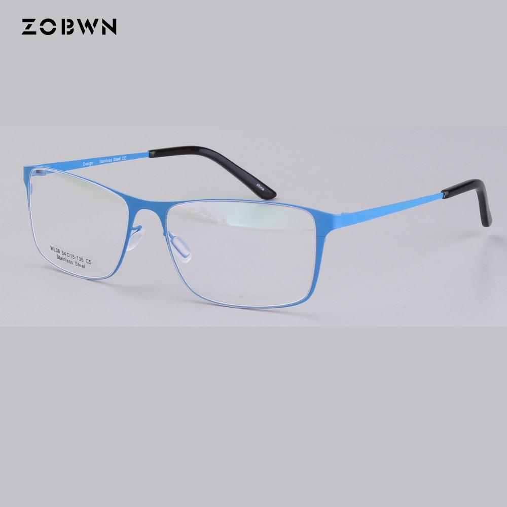 a9a426c707 ZOBWN new arrival Fashion Metal Glasses Frame Men Women Plain lens super  thin light Spectacles Vintage