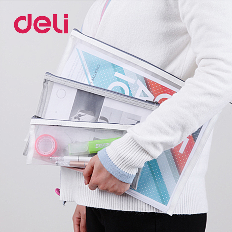 Deli 2019 New A4/A5 1pcs Grid Transparent Document Bag PVC Plastic Zipper Pouch Filing Products Bag Stationery Office Supplies
