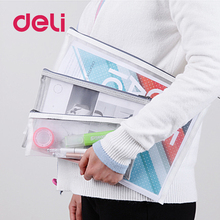 где купить Deli 2019 New A4/A5 1pcs Grid Transparent Document Bag PVC plastic Zipper Pouch Filing Products Bag Stationery Office Supplies дешево