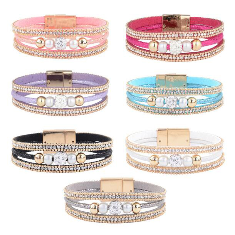 multi color Bangle velvet cortical Multi layered fashion wild pearl bracelet