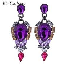 Elegant Purple Crystal Teardrop Long Earrings Bridal Large Drop Earrings For Women With Cubic Zircon Stone