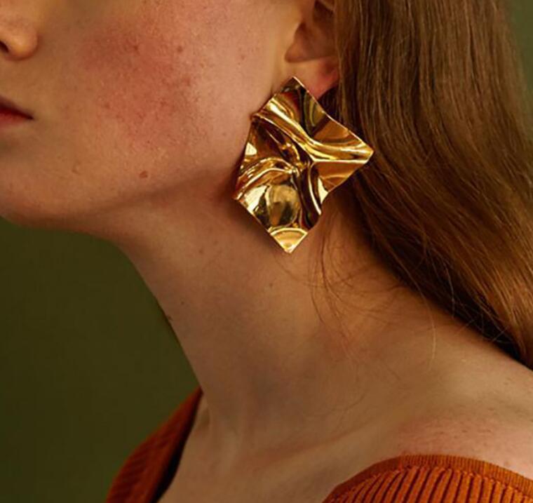 Женские серьги-подвески в Европейском стиле, большие квадратные металлические серьги золотого цвета, эффектные Винтажные серьги, 2019
