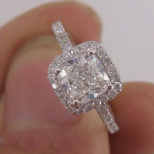 Forever Brilliant Luxury Cushion Cut 11 Carat Halo Engagement