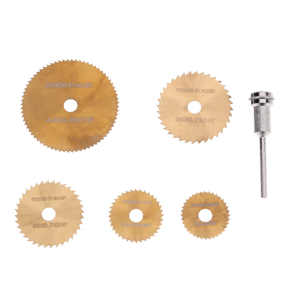 6pcs/set Mini Cutting Circular Saw HSS Woodworking Circular Saw Blades Kit Set Dremel Mandrel For Wood Carving Rotary Tool