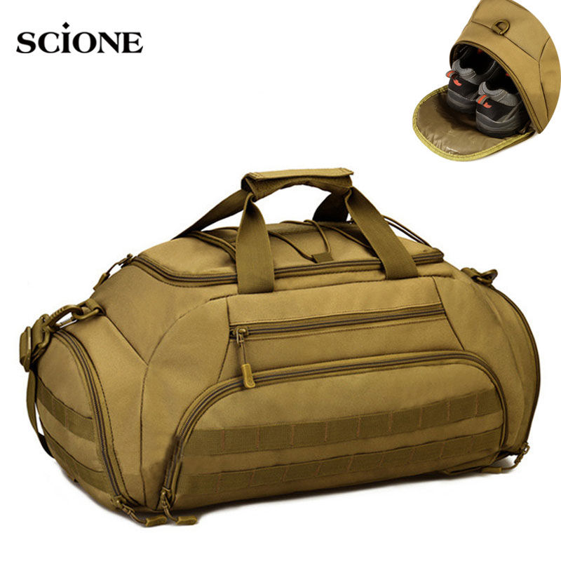 35L Gym Bag Backpack Rucksack Tactical Military Molle Bags Waterproof Shoes Sports Handbag Camping 14'' Laptop Canera X335WA