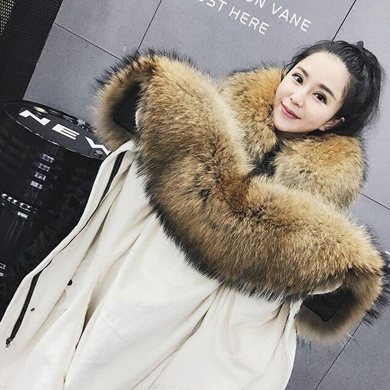 Winter Jacket Women 2017 Autumn/winter New Women Parkas Real Lamb Detachable Liner Large Raccoon Fur Loose Jacket Corduroy Coats winter
