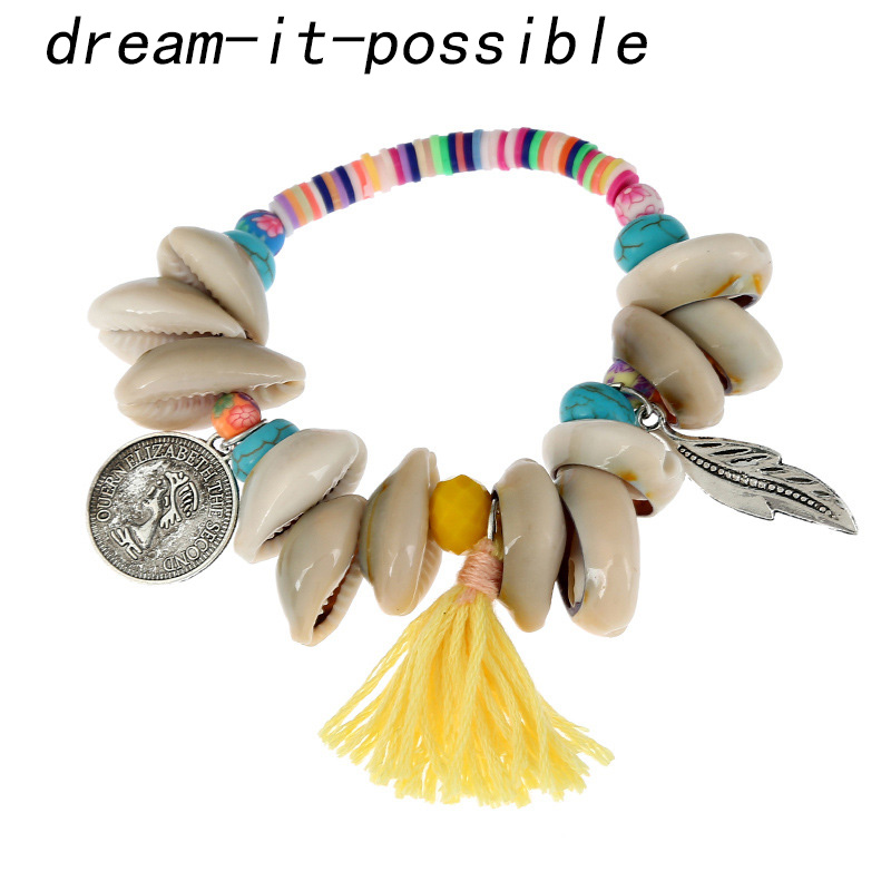 Dream-it-possible pcs new style small fresh style shell leaves alloy fringed friend ship bracelet