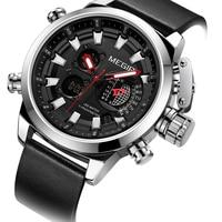 Relojes deportivos del Ejército de los hombres de la marca MEGIR 2019 reloj de pulsera de cuarzo cronógrafo de cuero reloj de Hombre|Relojes deportivos| |  -