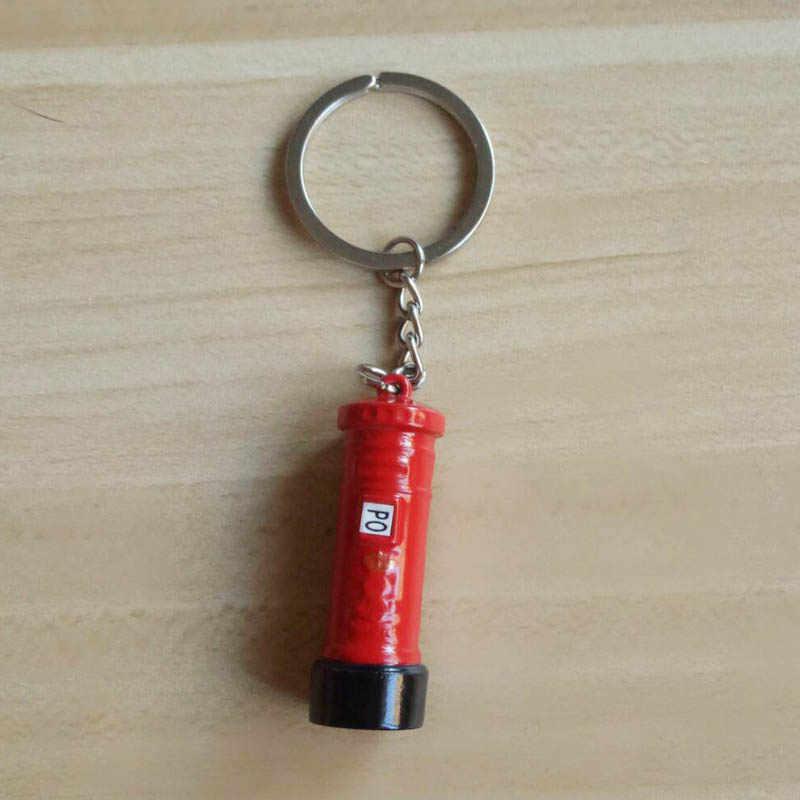Moda metal porta-chaves duplo deck ônibus pingentes titular da chave do carro telefone cabine saco charme acessórios novo chaveiro presente k1707