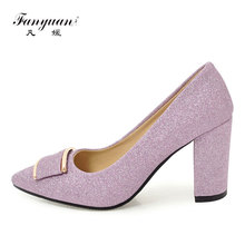 цены Fanyuan High Heel Women's Shoes Sexy Glitter Women Pumps Silver High Heels Shoes Pointed Toe Fancy Bling Purple Ladies Footwear