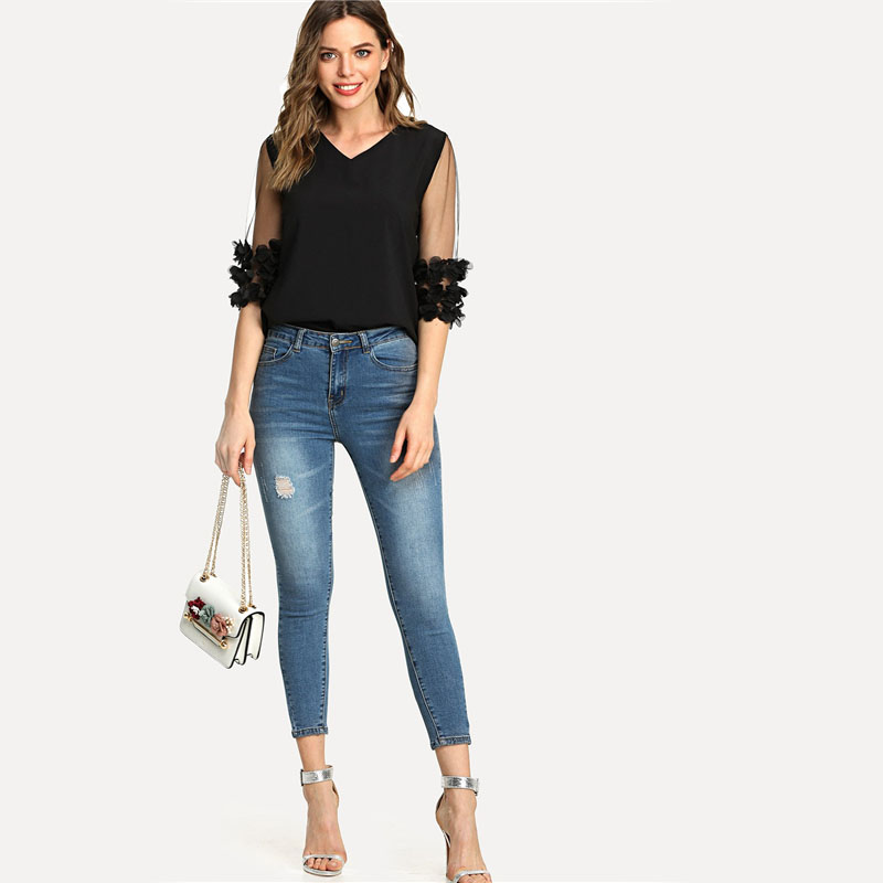 Mesh Stereo Flowers Applique Blouse Shirt Half Sleeve Round Neck for Women