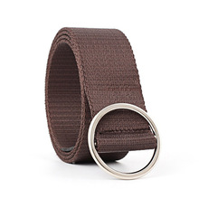 YJSFG HOUSE Mens Womens Canvas Belts Casual Ladies Belt with Round Ring Metal Buckle Fashion Waistband Solid For Pants