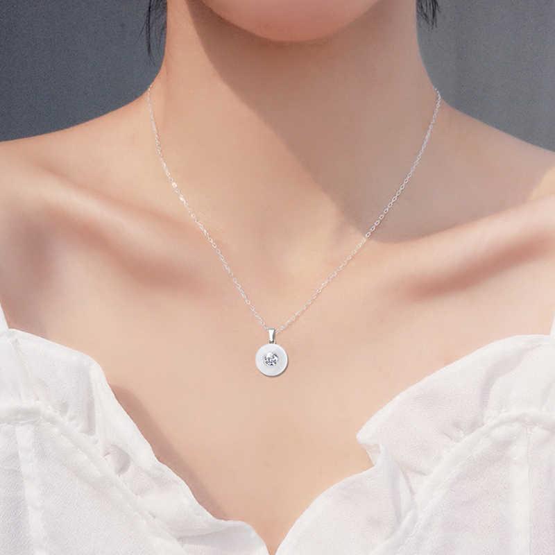Real Keramik Kubik Zirconia Rantai Kalung & Liontin Putih Warna Fashion Crystal Keramik Kalung Pernikahan Perhiasan untuk Wanita