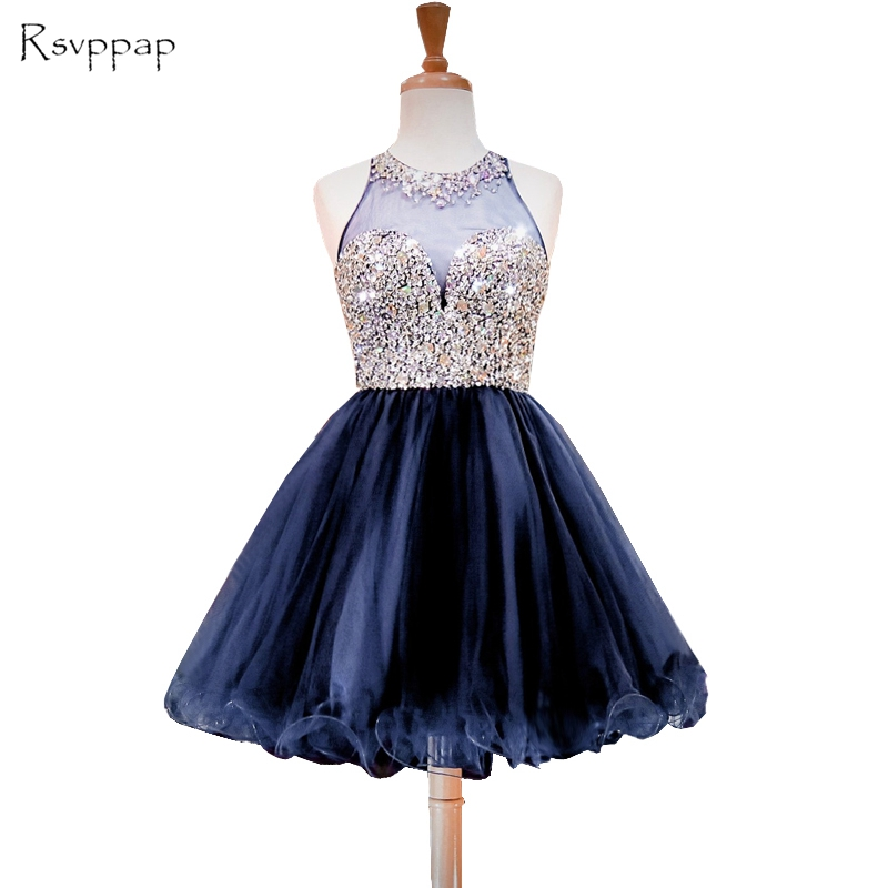ab0aaf3c4af Sparkly A-line Sheer Back Beaded Crystals Sweet 16 Dresses Short Navy Blue  Party Homecoming Dress 2018
