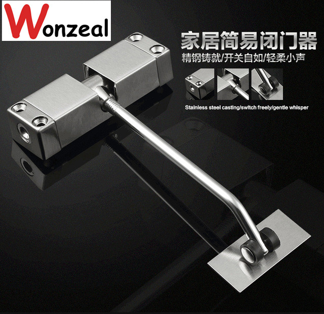 Stainless Steel Surface Mounted Spring Door Closer bear 20-30 KGS adjustable ,Invisible Buffer Closed Automatically Slowly Close 20 40kg adjustable high quality surface mounted door closer invisible buffer closed fire door access control