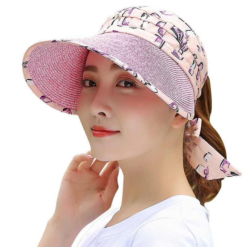 a74e68be150a6 Ymsaid 2018 Fashion Bowknot Decorated Empty top Sun Visors Hat Woman Summer  Caps Outdoor Breathable Anti