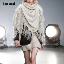 Брендовый дизайнерский Женский вязаный хиджаб из пашмины, роскошное пончо, одеяло, квадратный шарф, бахрома, треугольный зимний шарф с кисточками