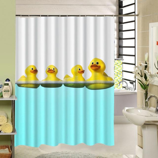 Yellow Duck Kids Bath Shower Curtain Polyester Screen Liners Animal Bird Pattern Cortina De Bano