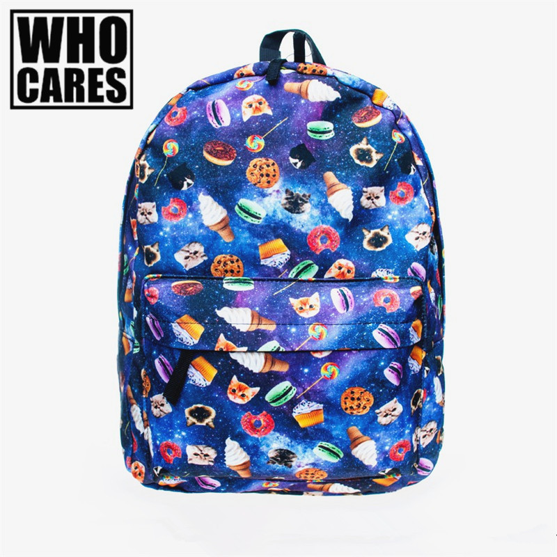 2016 Fashion New backpack women blue Cat and biscuits pattern School Shoulder Bags mochila feminina backpack pop free shipping fashion free shipping just hype pattern back to school backpack mochila batoh plecak