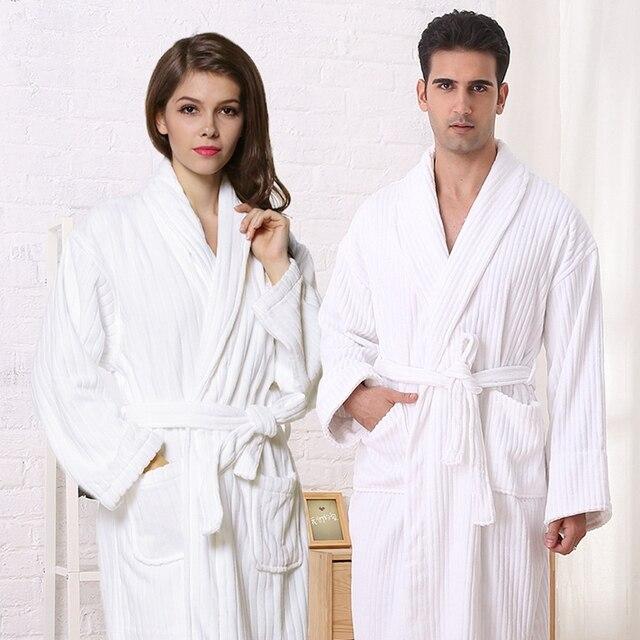 c9430f59d5 Women bathrobe cotton sleepwear nightgown men girls blanket towel robe  thickening lovers medium-long soft robe winter