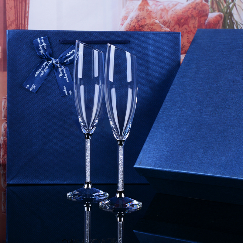 Fashion Champagne glasses set Wedding Toasting Flutes Crystal - Kitchen, Dining and Bar
