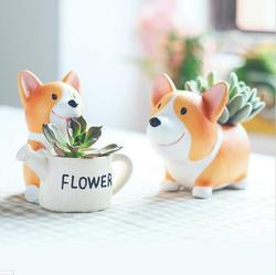 Creative Resin Flowerpot Kawaii Corgi Garden Pots Planters Jardin Bonsai Desk Succulent Flower Pot Can Mix Order Dropshipping