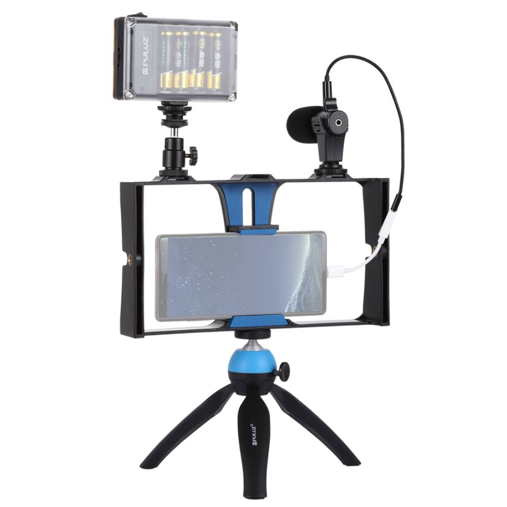 Image 2 - PULUZ Smartphone Video Rig   LED Studio Light   Video Microphone    Mini Tripod Mount Kits with Cold Shoe Tripod Head for iPhonPhoto  Studio Accessories