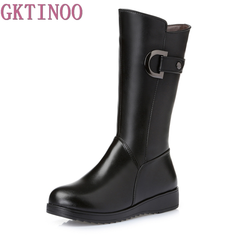 Large size 35-43 cowhide warm winter shoes woman snow boots 2017  knee high fashion boots women boots flat genuine leather shoes