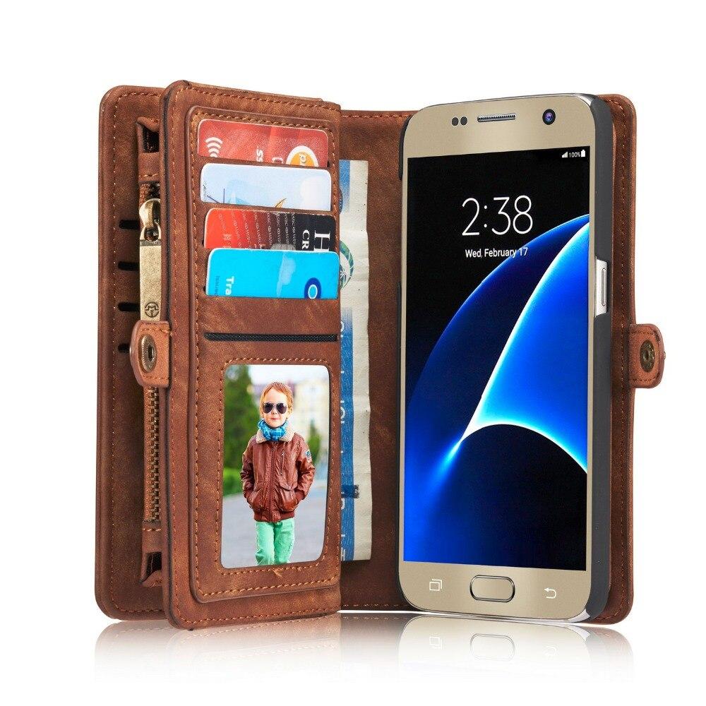 imágenes para Caseme marca multifunción de cuero genuino wallet case para samsung galaxy s7 s7edge cremallera monedero bolsa cajas del teléfono bolso de la señora