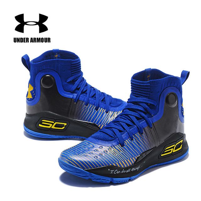 Under Armour UA Pria Curry 4 Ringan Olahraga Basket Sneakers Outdoor Tinggi Top Atletik Unik Kaus Kaki Desain Bantalan Sepatu