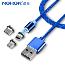 NOHON LED Fast Magnet Charger Cable Lighting 8 Pin Micro USB Type C For iPhone X 7 8 6 Xiaomi 4 3 in 1 Magnetic Charging Cables цена и фото