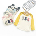 2016 New Baby Kids Girls Winter Clothes Cashmere Thick T-shirt Three Cat Embroidery Sweat Shirts Cotton Tops Clothes