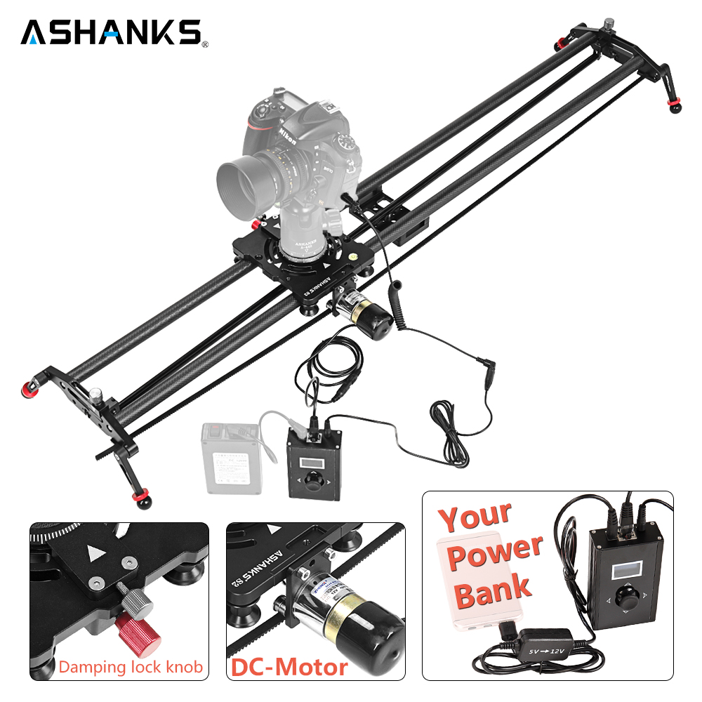 ASHANKS Carbon Camera Slide Follow Focus Pan Motorized Electric Control Delay Dolly Slider Track Rail for Timelapse Photography new 4 wheels mobile rolling sliding dolly stabilizer skater slider motorized push cart tractor for gopro 5 4 3 3 2 1 camera