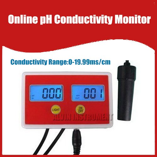Free Shipping Aquarium Online PH / Conductivity Monitor ph meter conductivity meter tester 0-19.99ms/cm  цены