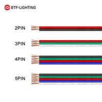 10 m/20 m rollo 2pin/3pin/4pin/5pin 22AWG/20AWG/18AWG conector LED cable de extensión de Cable