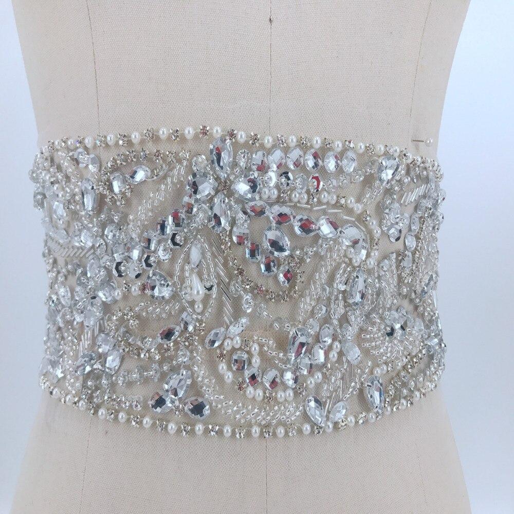 Coudre sur strass argent appliques cristaux faits à la main patchs 80*11 cm bricolage robe ceinture accessoire