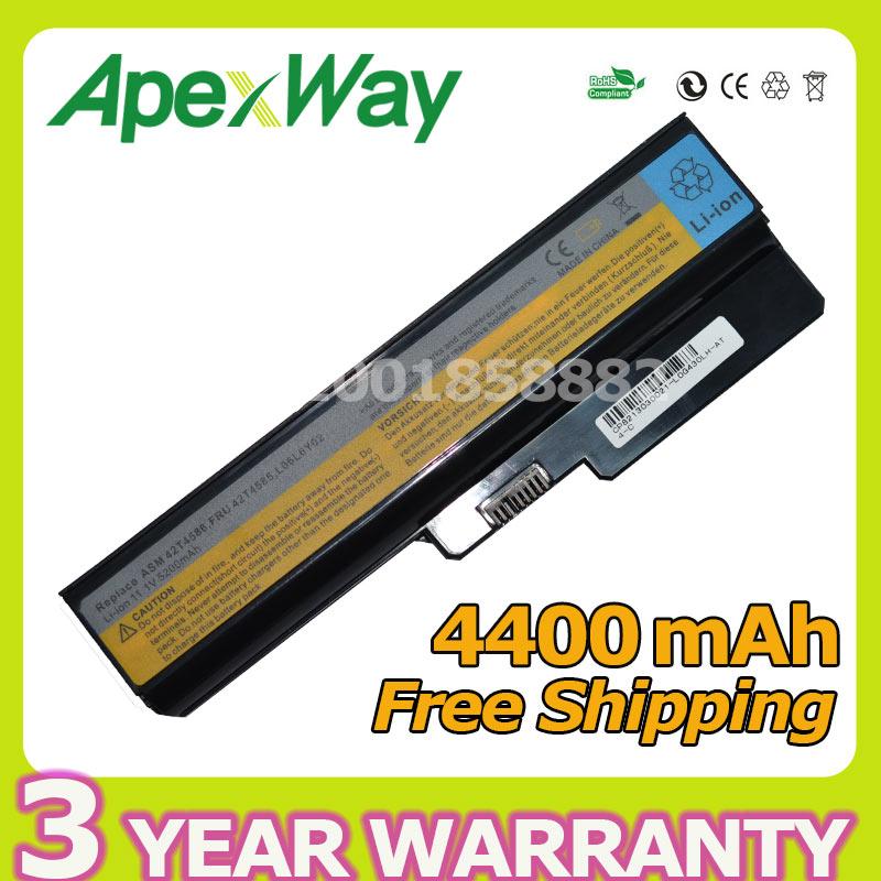 Apexway 6 celular 4400 mAh batería del ordenador portátil para Lenovo N500 G550 para IdeaPad G430 V460 Z360 B460 L08S6Y02