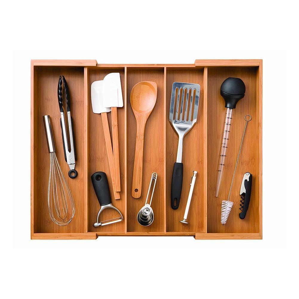 Extensible bambou vaisselle boîte de rangement rétro maison cuisine couverts plateau Style européen naturel tiroir baguettes fourchette organisateur