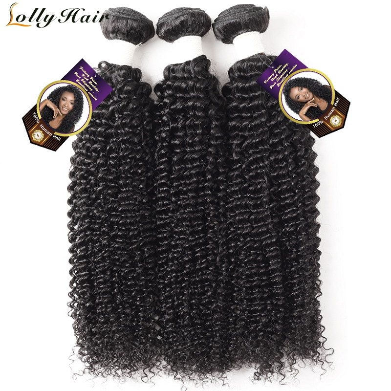Lolly Malaysian Kinky Curly Hair Bundles Natural Color Remy Hair Extensions Curly Weave Human Hair 3 Bundles Deal Free Shipping