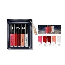 O.TWO. O 5pcs/set Black Gold Matte Lip Gloss Suit Moisturizing Oil Non-stick Cup Lipgloss Lipstick Professional Makeup Gift
